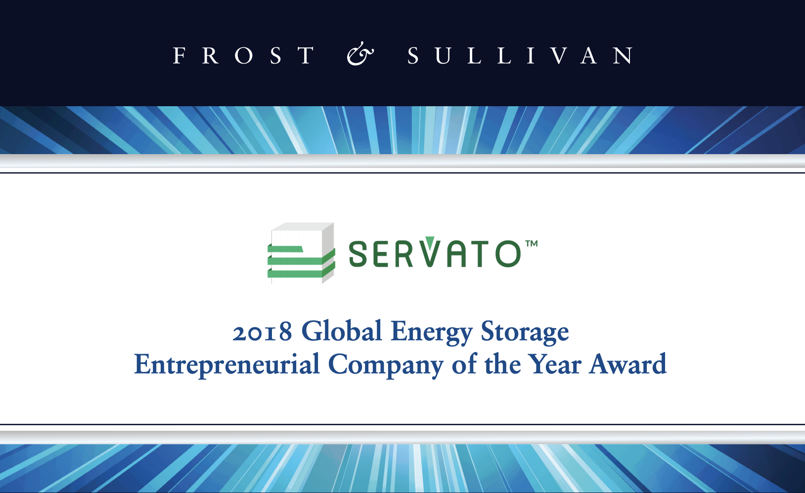 Frost and Sullivan Announces 2018 Global Entrepreneurial Company of the Year